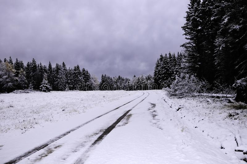 Sneeuw Behandelde Weg royalty-vrije stock fotografie