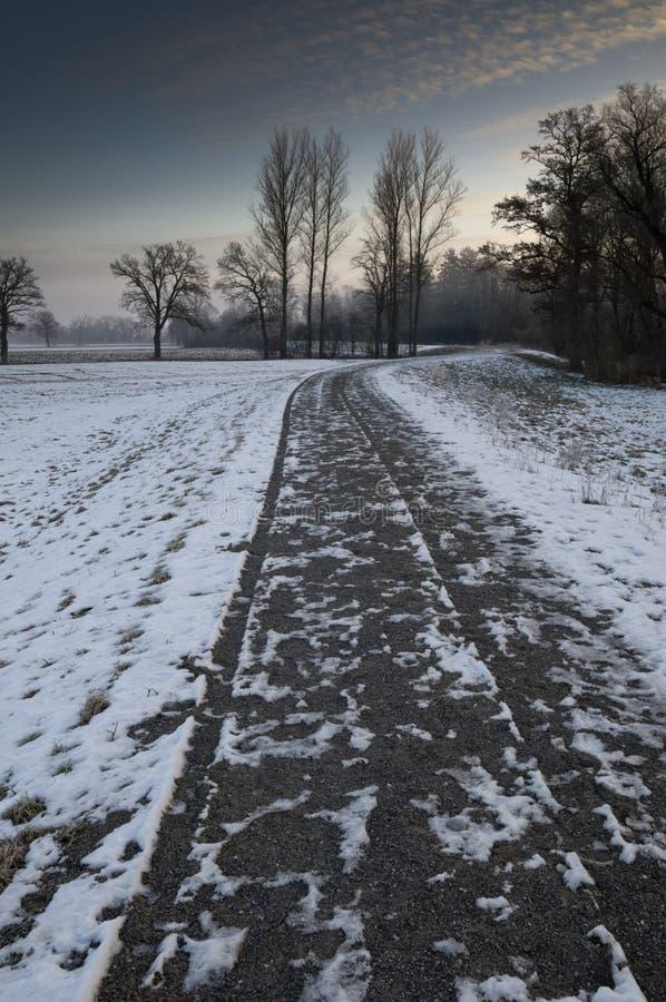 Sneeuw behandelde weg in de winter royalty-vrije stock afbeeldingen