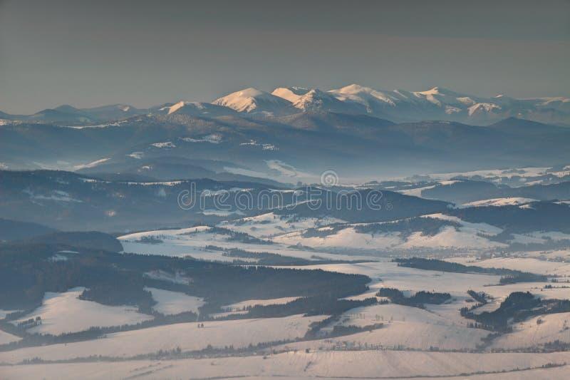 Sneeuw bereikt Weinig Fatra en bos in mist bij zonsopgang Slowakije een hoogtepunt royalty-vrije stock afbeeldingen