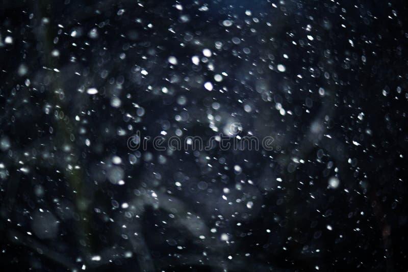 Sneeuw bokeh textuur op zwarte achtergrond stock afbeeldingen
