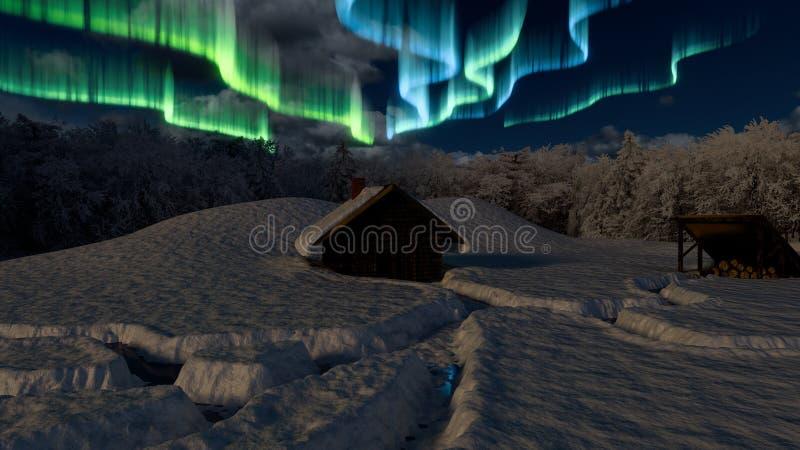 Sneeuw cabine in het hout