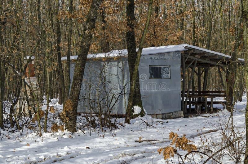 Sneeuw comfortabel hoekje met houten schuilplaats voor de winterontspanning met vriend in het vergankelijke bos stock fotografie