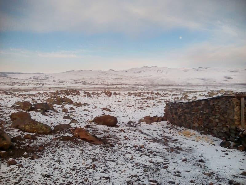 Sneeuw in de Andes stock foto