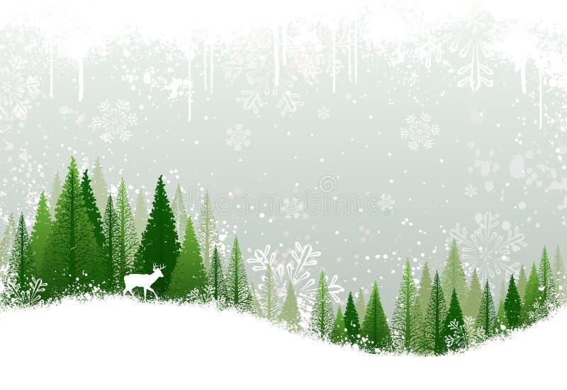 Sneeuw de winter bosachtergrond stock illustratie