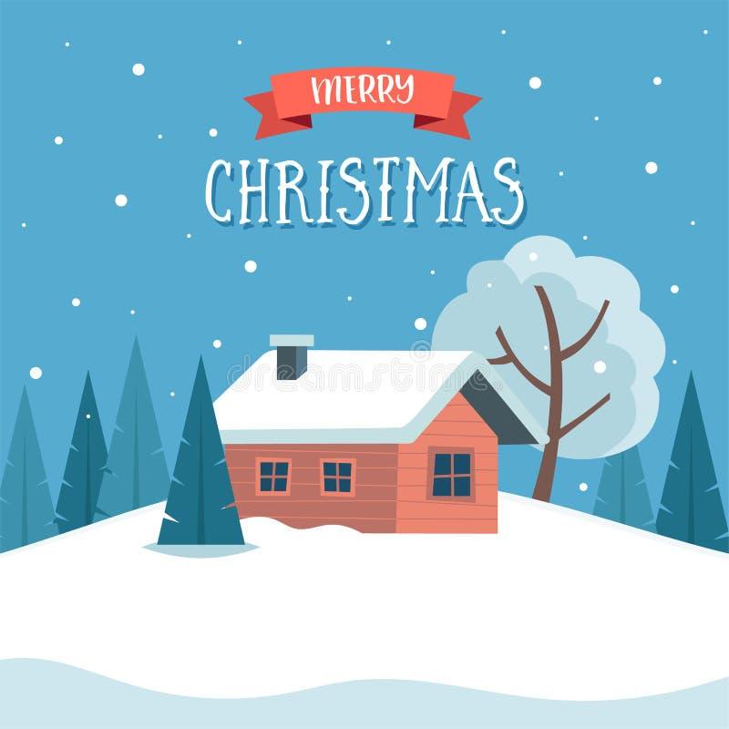 Sneeuw de winterlandschap met leuke buitenhuis en bomen, het van letters voorzien Vectorillustratie in vlakke stijl De kaart van  royalty-vrije illustratie