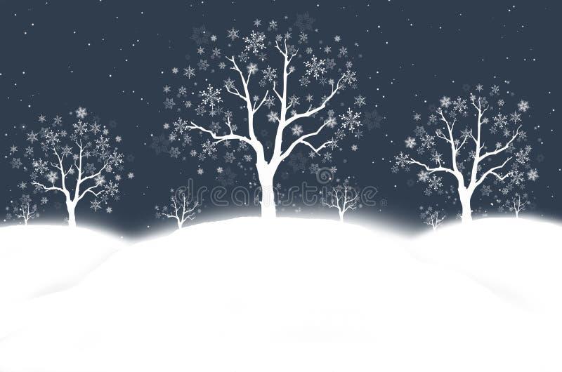 Sneeuw de winternacht royalty-vrije illustratie