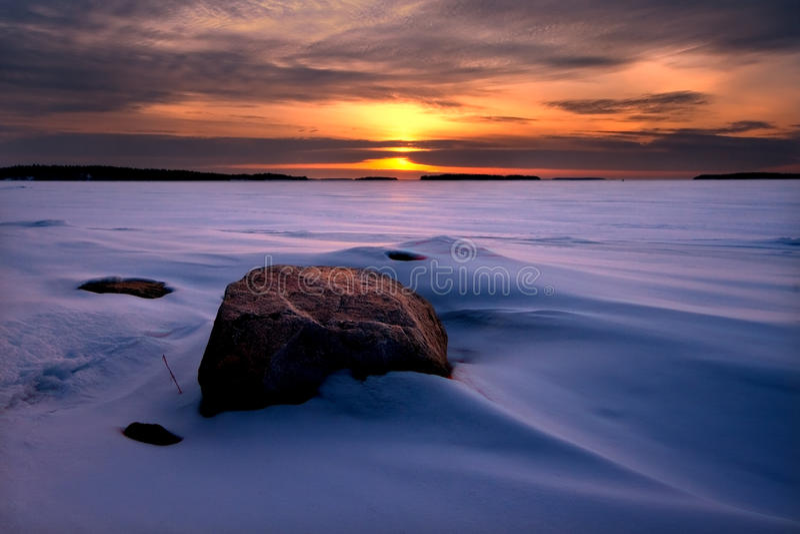 Sneeuw de winterscène royalty-vrije stock foto's