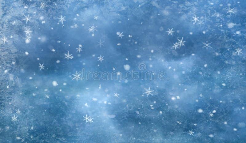 Sneeuw de Wintertextuur met ijs en sneeuwvlokken vector illustratie