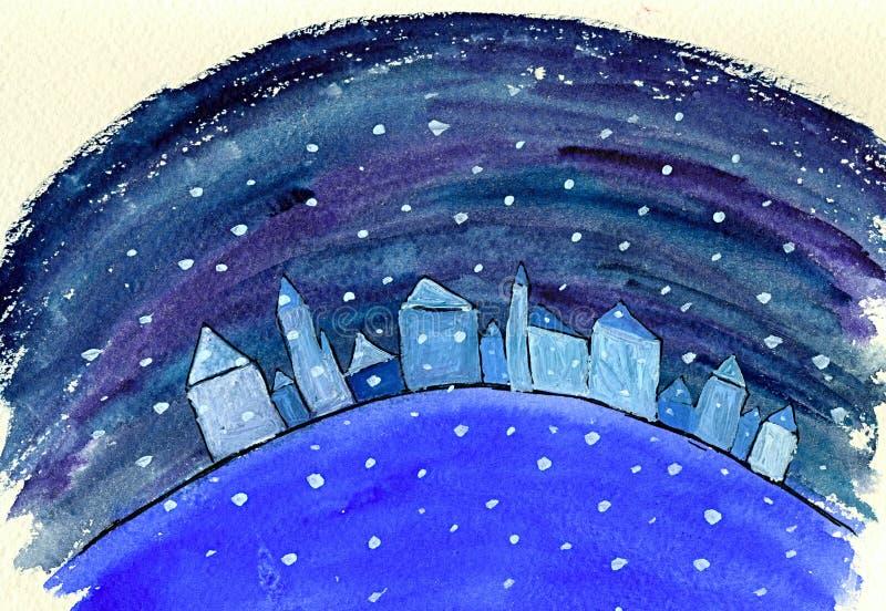 Sneeuw die op huizen valt vector illustratie