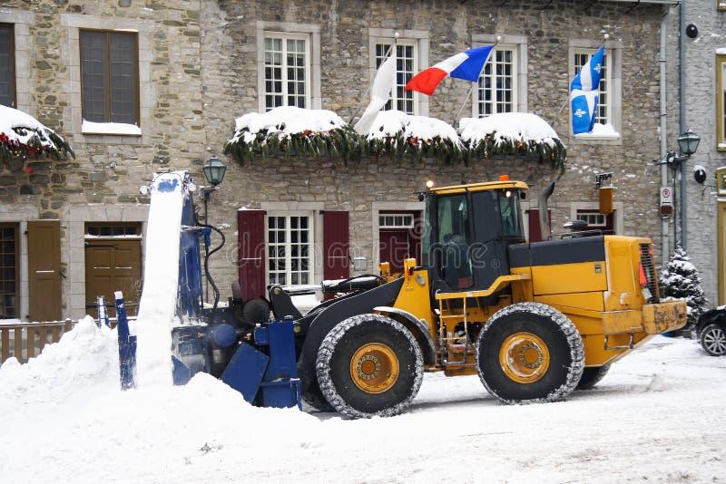 Sneeuw die voertuig verwijdert - sneeuwploeg stock afbeelding