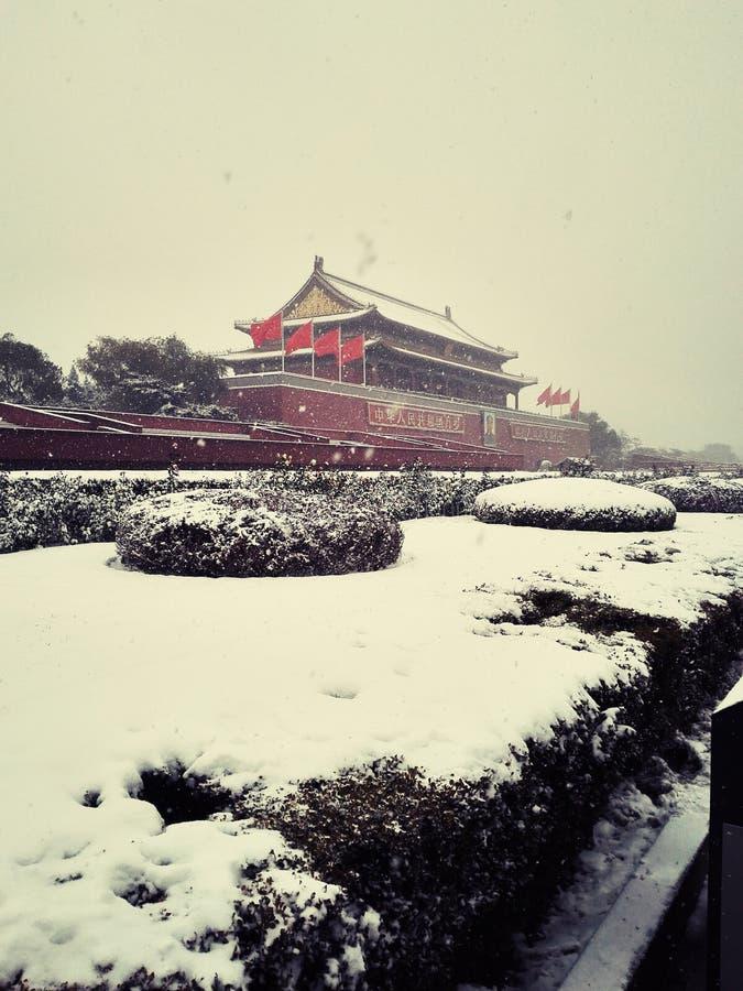 Sneeuw en awesomeTian mensenvierkant stock fotografie