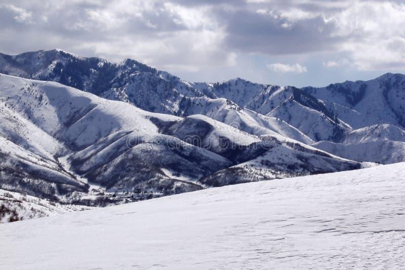 Sneeuw en bergen bij verhoging stock foto's