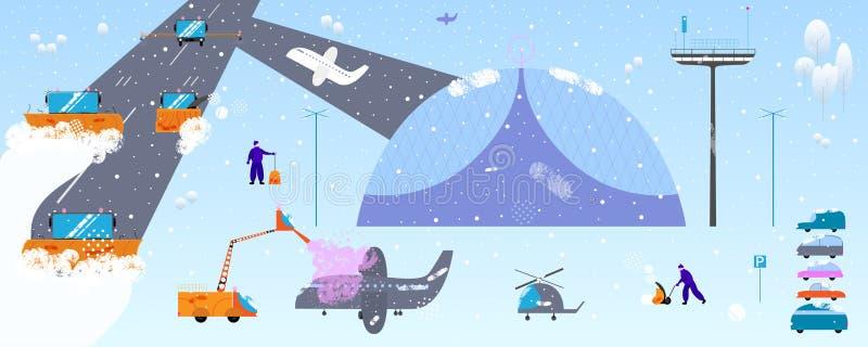 Sneeuw en ijsverwijderingsconcept De machines van de sneeuwploeg, materiaal en uiterst kleine mensen in moderne beeldverhaal vlak royalty-vrije illustratie