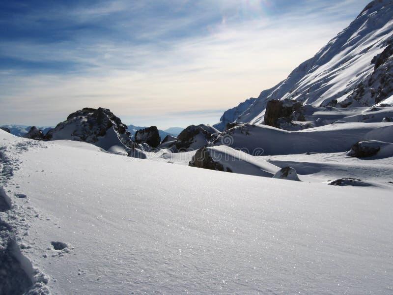 Sneeuw en steen stock fotografie