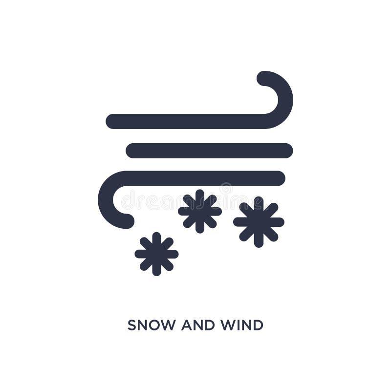 sneeuw en windpictogram op witte achtergrond Eenvoudige elementenillustratie van meteorologieconcept vector illustratie
