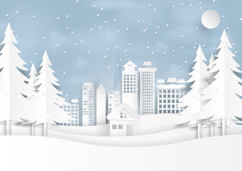 Sneeuw en wintertijd met stedelijke landschapsdocument kunststijl vector illustratie