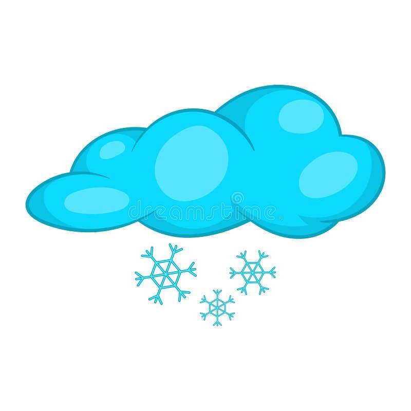 Sneeuw en wolkenpictogram, beeldverhaalstijl vector illustratie