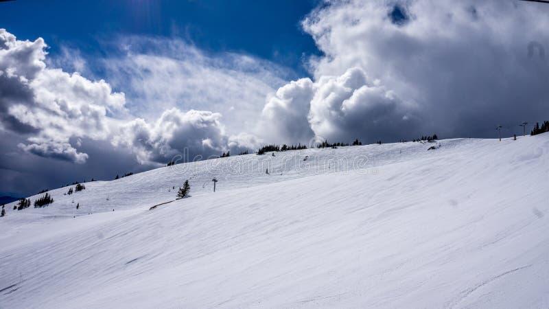 Sneeuw Fileds op het Hoge Alpiene Gebied van Zonpieken stock foto