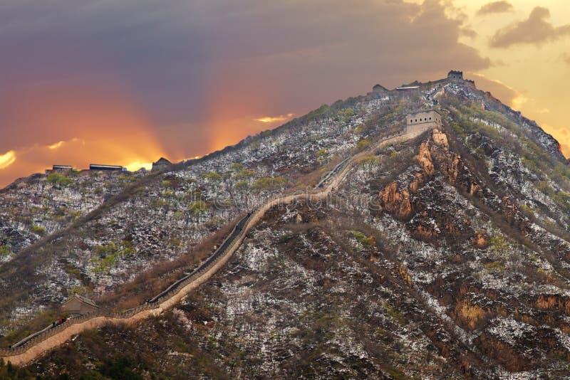 Sneeuw Grote Muur, Peking, China royalty-vrije stock afbeeldingen