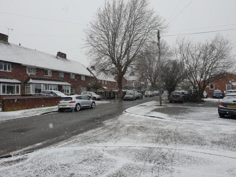 Sneeuw in herefordshire stock fotografie