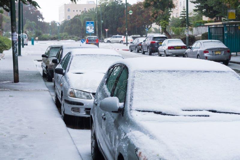 Sneeuw in Israël. 2013. royalty-vrije stock afbeeldingen