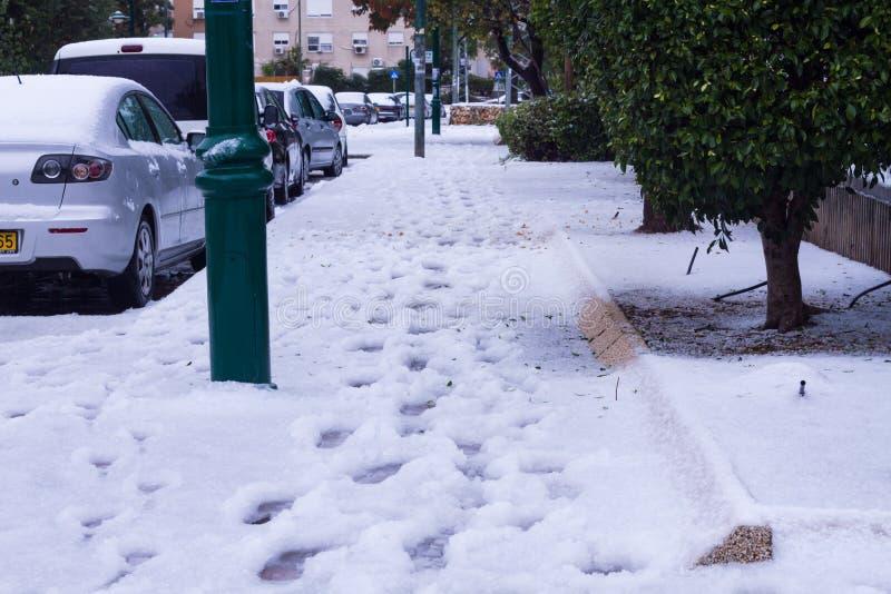 Sneeuw in Israël. 2013. stock afbeelding
