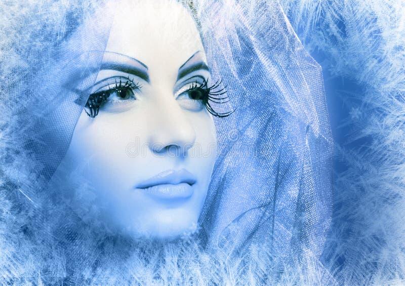 Sneeuw-koningin gezichts dichte omhooggaand royalty-vrije stock afbeeldingen
