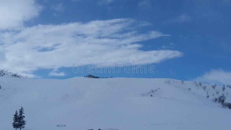Sneeuw met blauwe hemel en witte wolken stock foto's