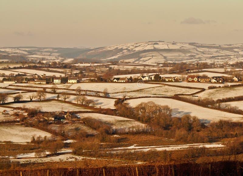 Sneeuw op de Valleien in Wales stock foto's