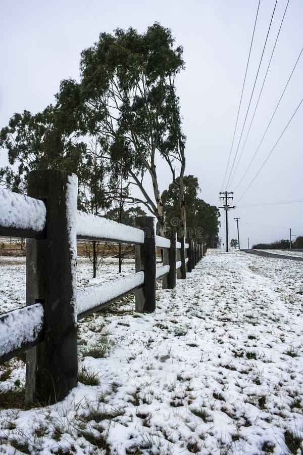 Sneeuw op omheiningslijn stock afbeelding
