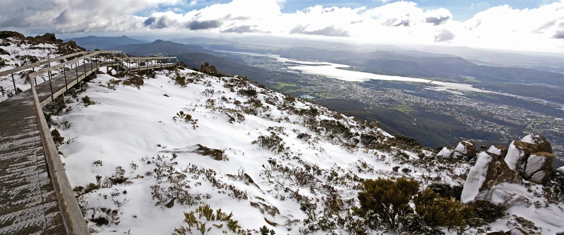 Sneeuw op Onderstel Wellington, Hobart stock afbeeldingen