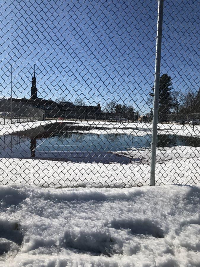 Sneeuw op Tennisbanen royalty-vrije stock foto