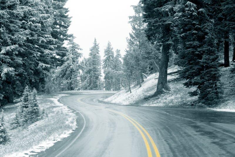 Sneeuw op Weg stock afbeeldingen