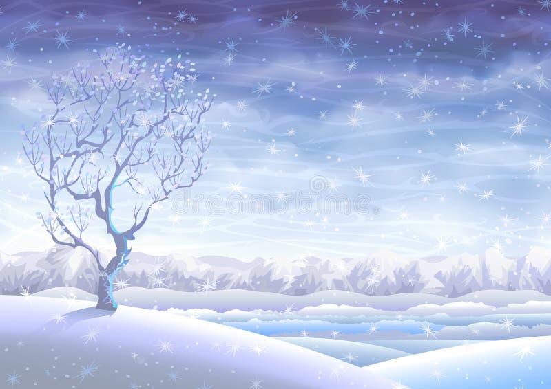 Sneeuw rollend de winterlandschap royalty-vrije illustratie