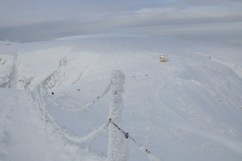 Sneeuw sleep in de bergen met de winterberg royalty-vrije stock afbeelding