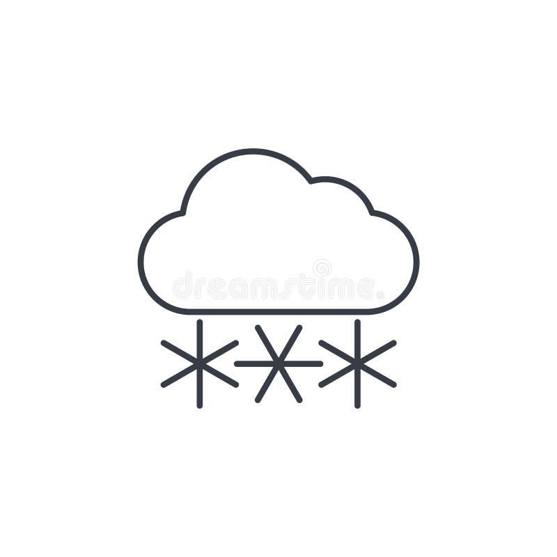 Sneeuw, sneeuwvalwolk, dun de lijnpictogram van het de winterweer Lineair vectorsymbool vector illustratie