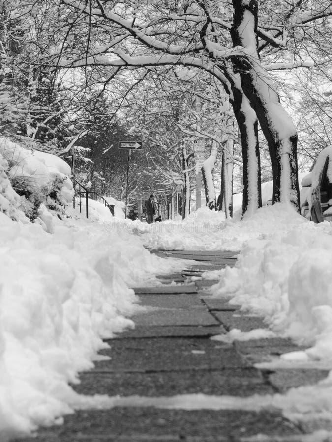 Sneeuw Stoep in Zwart-wit royalty-vrije stock fotografie