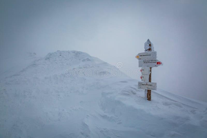 Sneeuw voorzie bij de top van Kasprowy Wierch, Tatra-Bergen van wegwijzers royalty-vrije stock foto's