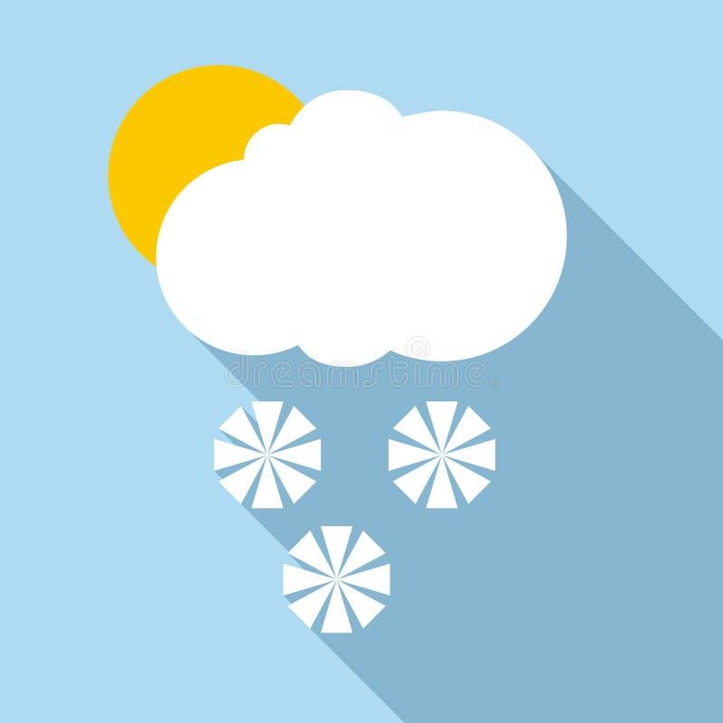 Sneeuw in zonnig weerpictogram, vlakke stijl stock illustratie