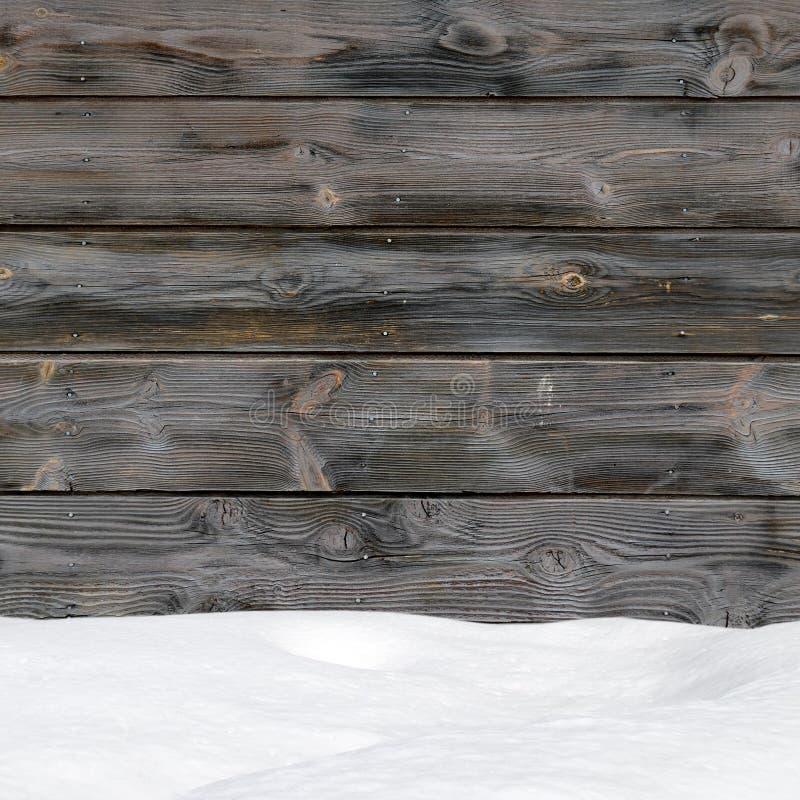 Sneeuwafwijking op Houten Raad stock foto's