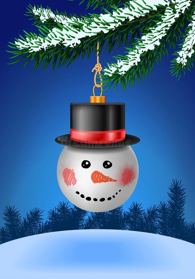 Sneeuwbalsnuisterij in zwarte hoed op Kerstmisboom vector illustratie