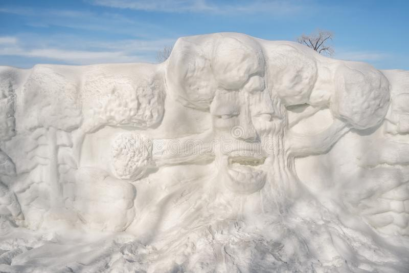 Sneeuwbeeldhouwwerk in ste-Roze Laval stock afbeeldingen