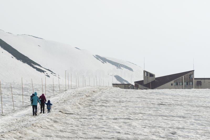 Sneeuwberg in de Alpiene Route van Tateyama Kurobe, Japan royalty-vrije stock afbeeldingen