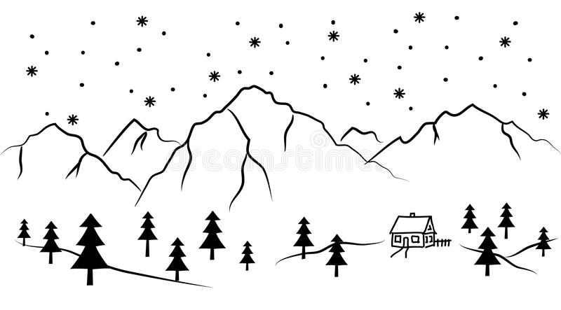 Sneeuwberg en huis - zwart-witte vectorillustratie stock illustratie