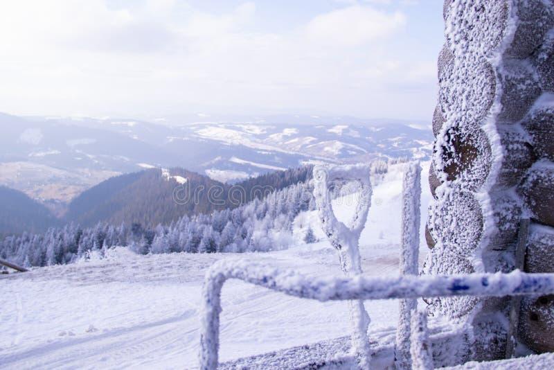 Sneeuwbergbovenkant bij een skitoevlucht en snow-covered vegend materiaal stock foto