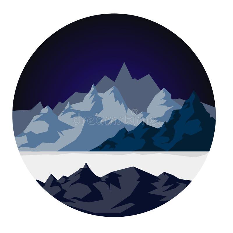 Sneeuwbergen met een meer stock afbeeldingen