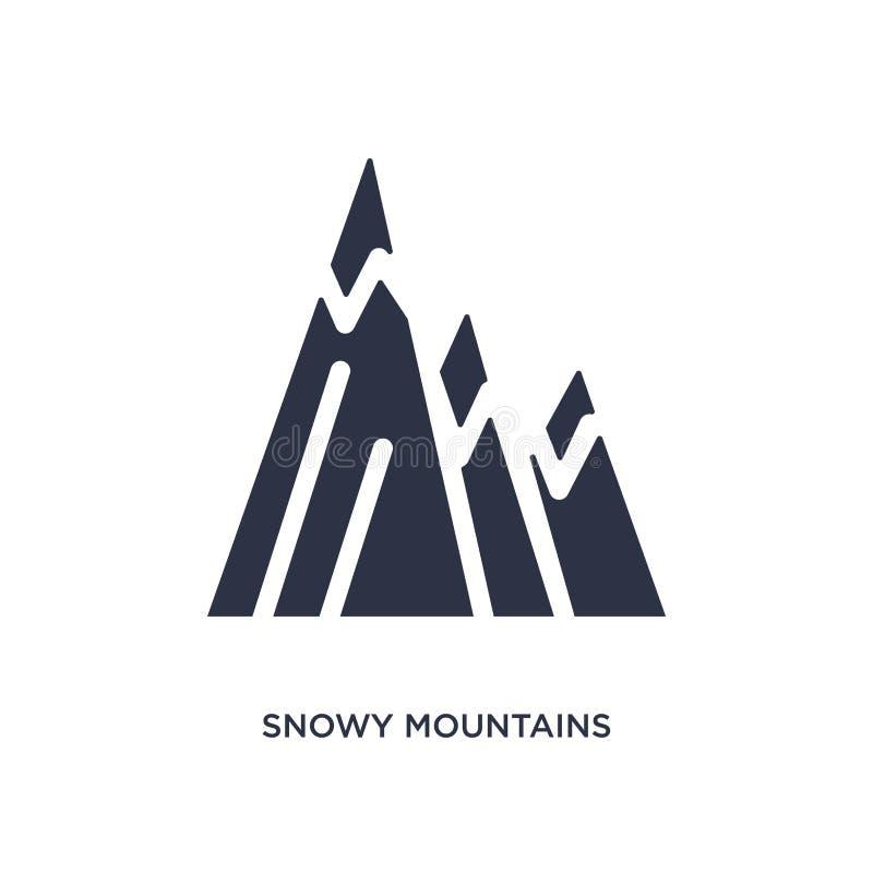 Sneeuwbergenpictogram op witte achtergrond Eenvoudige elementenillustratie van ecologieconcept vector illustratie