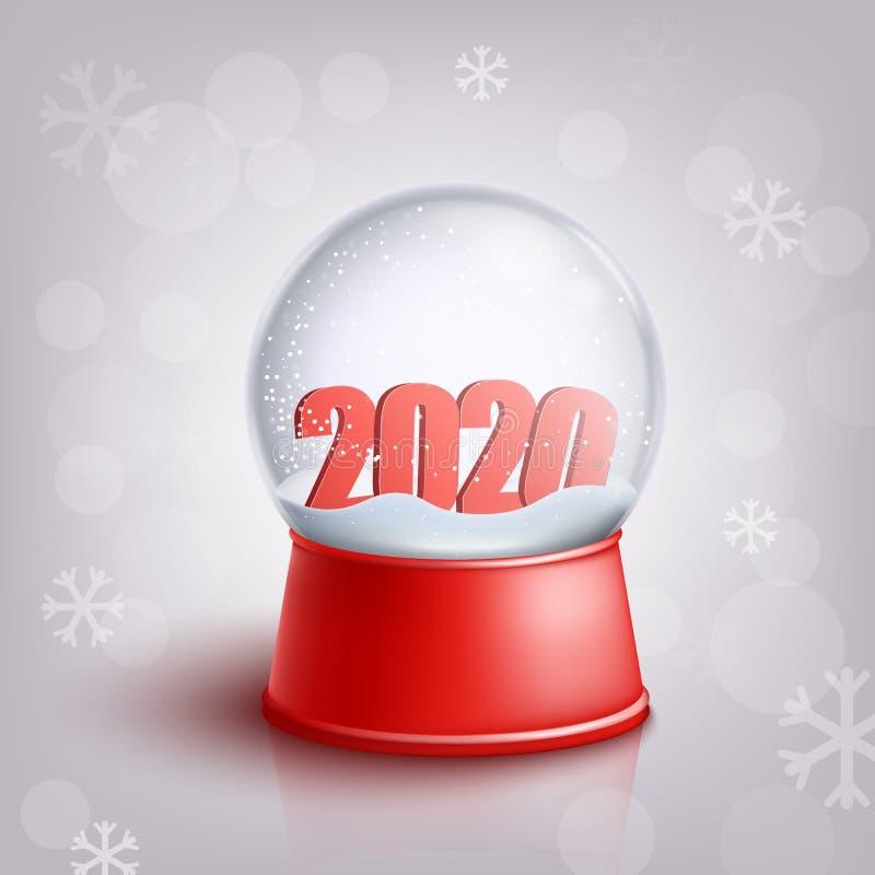 Sneeuwbol met rode 2020 nieuwe jaaraantallen binnen in realistische stijl stock illustratie