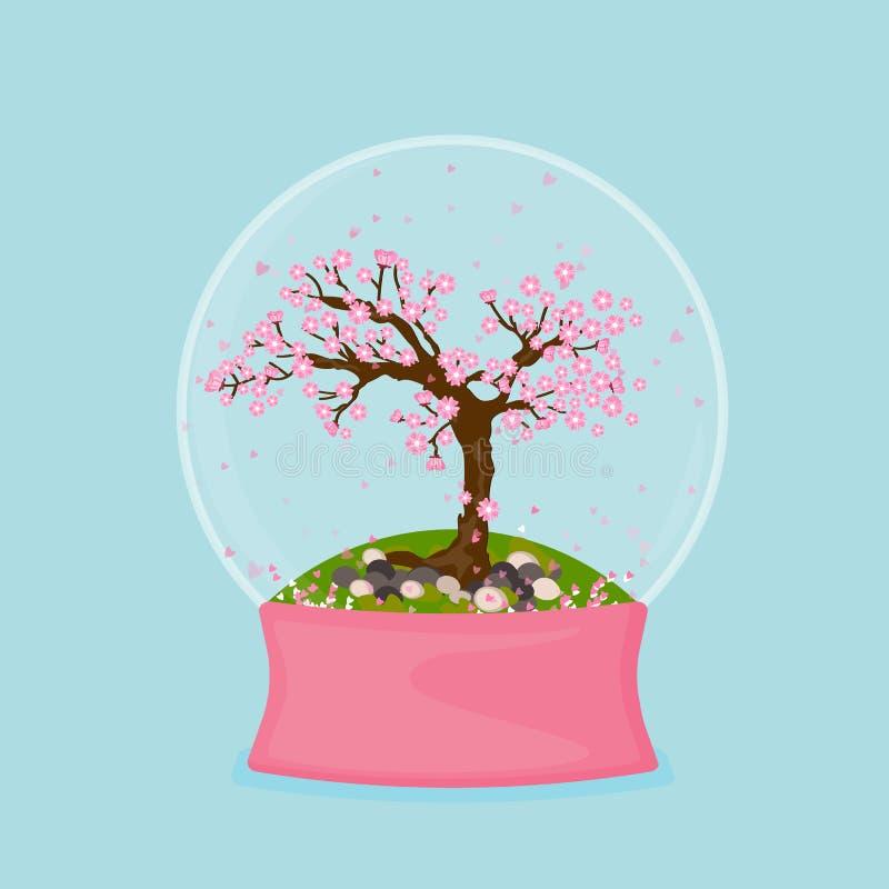 Sneeuwbol met sakuraboom binnen op groen stock illustratie
