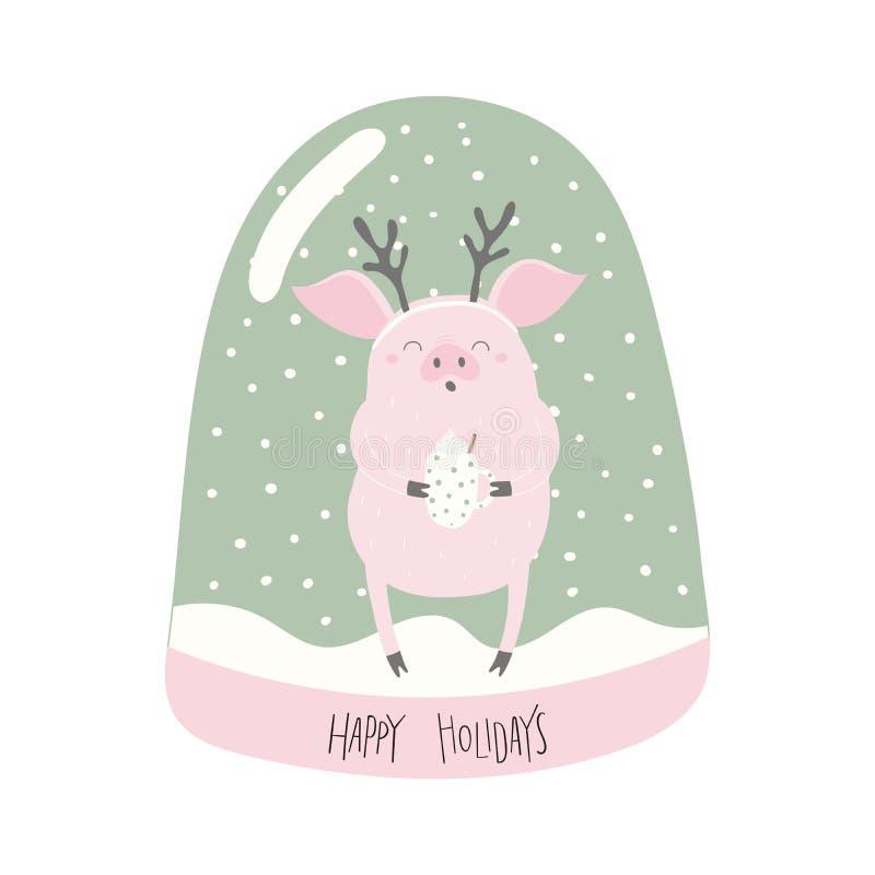 Sneeuwbol met varken stock illustratie